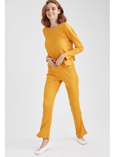 Defacto –Fit Fitilli Relax Fit Pijama Takımı Sarı